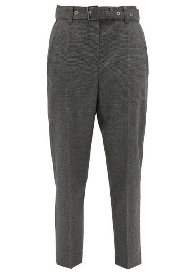 Brunello Cucinelli Belted houndstooth wool trousers