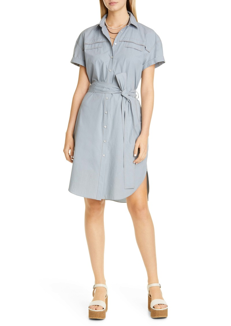 Brunello Cucinelli Belted Monili Trim Cotton Shirtdress