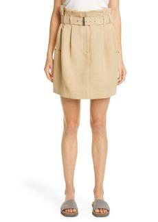 Brunello Cucinelli Belted Raw Linen Panama Skirt