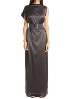 Brunello Cucinelli Belted Silk Column Gown