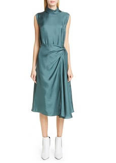 Brunello Cucinelli Belted Silk Midi Dress