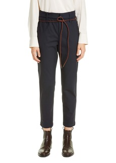 Brunello Cucinelli Belted Straight Leg Wool Pants