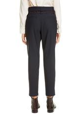 Brunello Cucinelli Belted Straight Leg Wool Pants