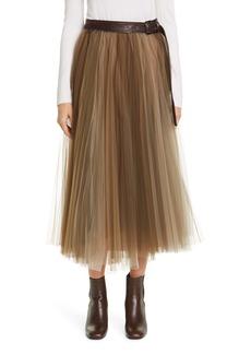 Brunello Cucinelli Belted Tulle Midi Skirt