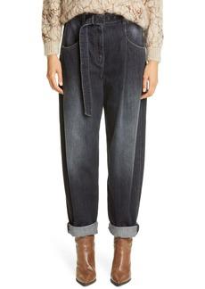 Brunello Cucinelli Belted Wide Leg Jeans