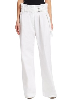 Brunello Cucinelli Belted Wide Leg Cotton Paper Bag Trousers