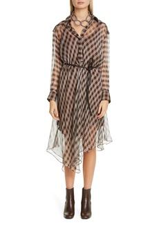 Brunello Cucinelli Bias Check Long Sleeve Silk Chiffon Shirtdress