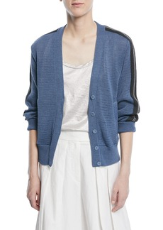 Brunello Cucinelli Button-Front Cardigan with Contrast Racing Stripe