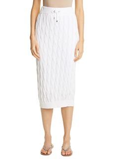 Brunello Cucinelli Cable Cotton, Linen & Silk Sweater Skirt