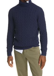 Brunello Cucinelli Cable Knit Cashmere Turtleneck Sweater