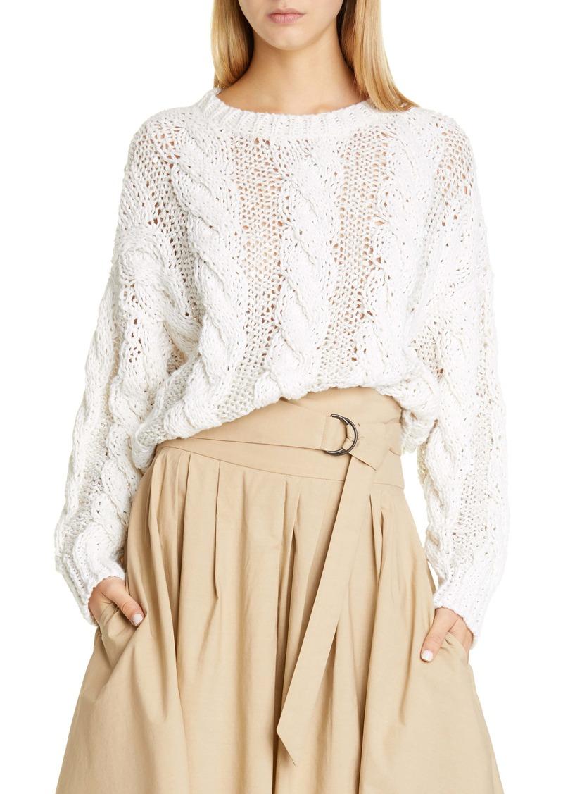 Brunello Cucinelli Cable Sequin Jute Blend Sweater