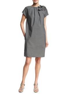 Brunello Cucinelli Cap-Sleeve Shift Dress w/Floral Applique