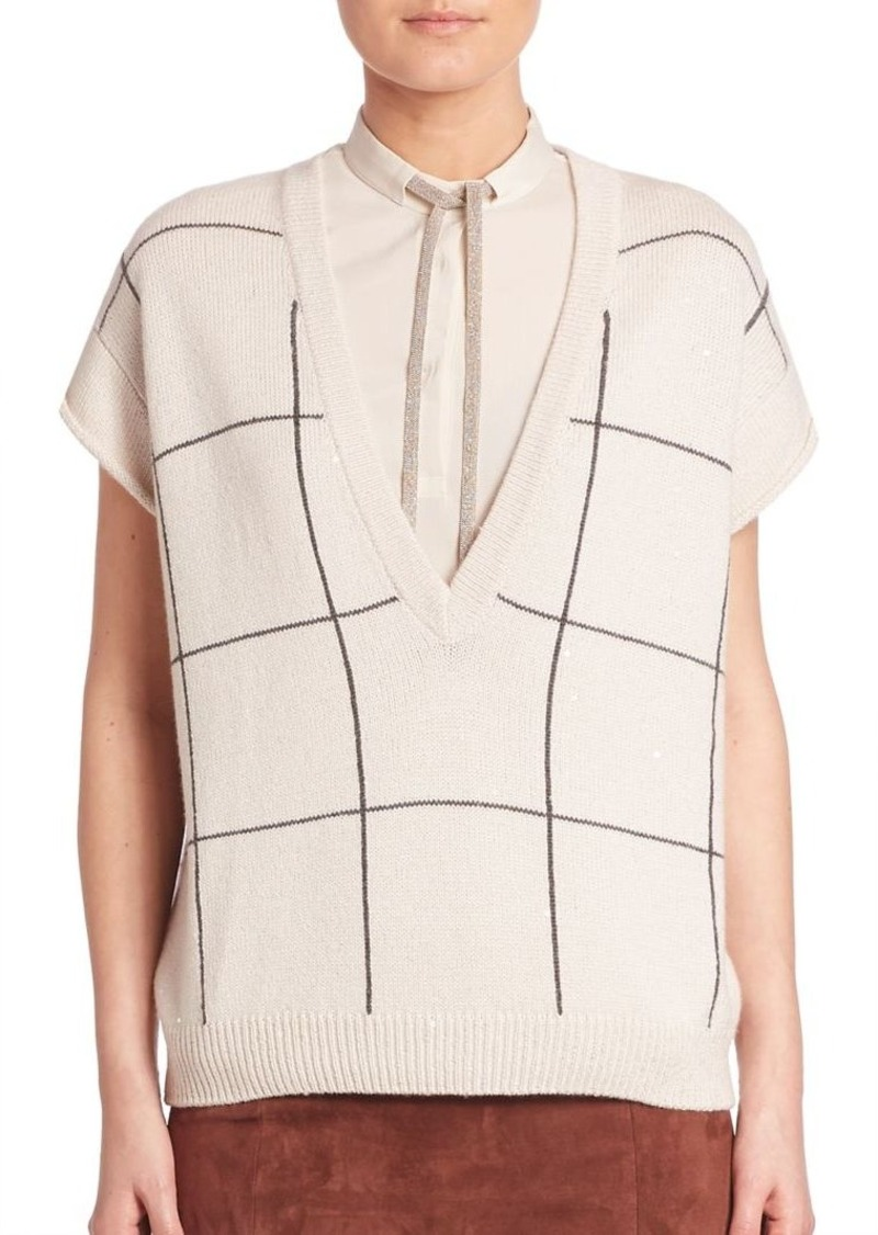 Brunello Cucinelli Cashmere & Silk Windowpane Sweater Vest