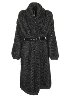 Brunello Cucinelli Cashmere And Mohair Dazzling Chevron Jacquard Belted Cardigan Sweater