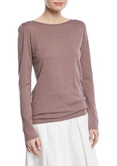 Brunello Cucinelli Cashmere-Blend Metallic Long-Sleeve Sweater