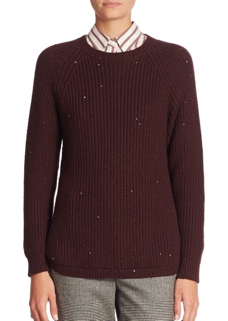 Brunello Cucinelli Cashmere-Blend Paillette Knit Sweater