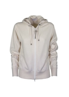 Brunello Cucinelli Cashmere Hooded Sweatshirt Ivory Sweater