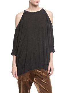 Brunello Cucinelli Cashmere-Silk Cold-Shoulder Pullover Top