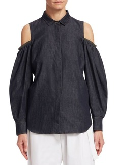 Brunello Cucinelli Chambray Cold-Shoulder Blouse