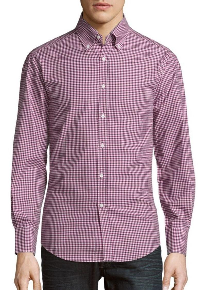 Brunello Cucinelli Check Pattern Cotton Sportshirt