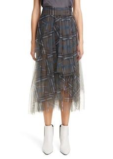 Brunello Cucinelli Check Print Tulle Midi Skirt