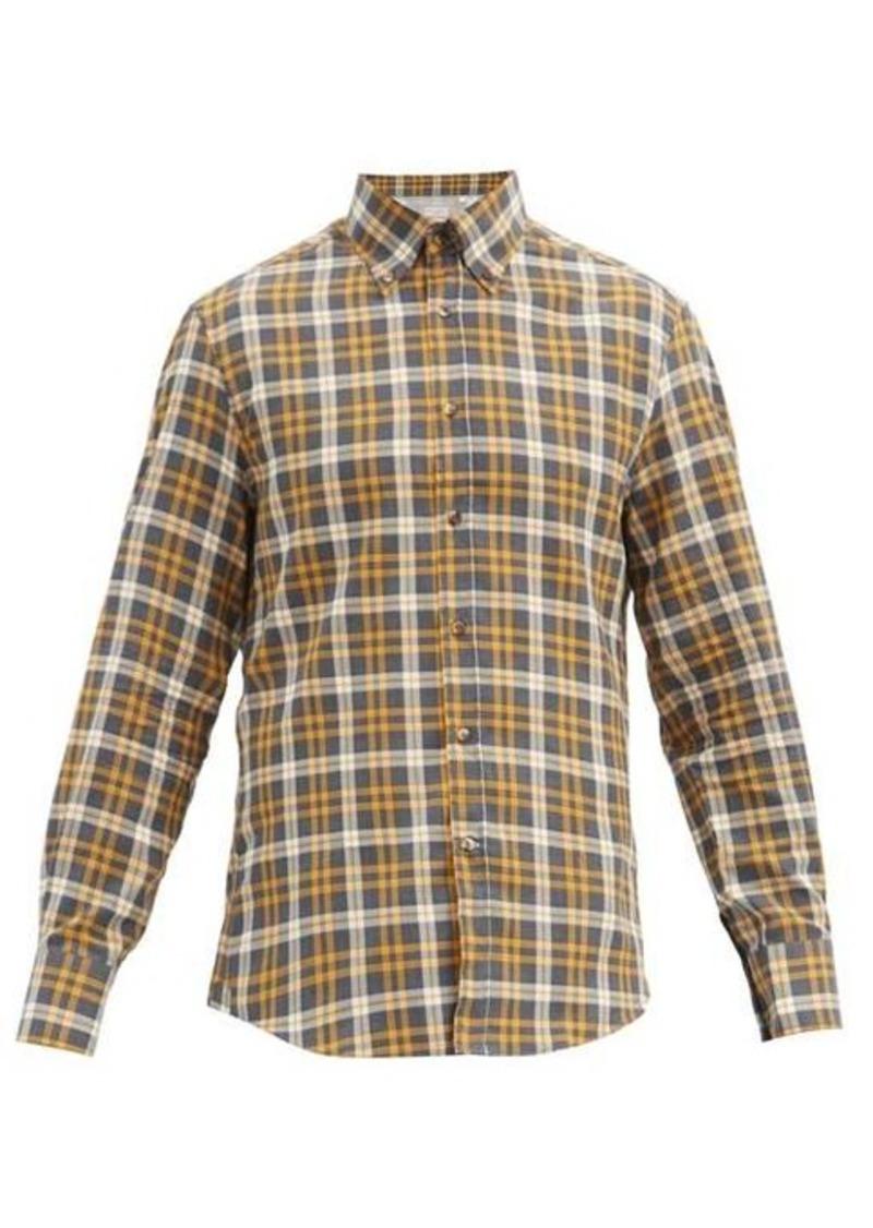 Brunello Cucinelli Checked button-down collar cotton shirt