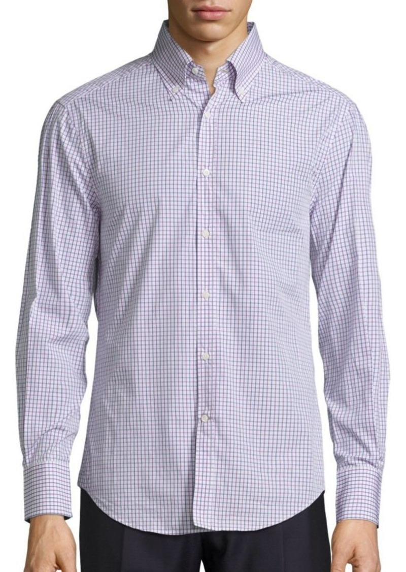 Brunello Cucinelli Checked Long-Sleeve Cotton Shirt
