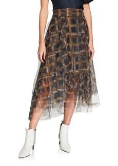 Brunello Cucinelli Checked Tulle Skirt