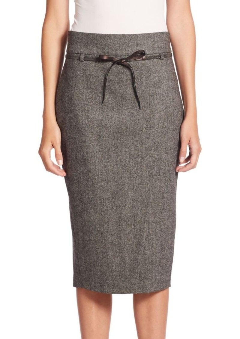 Brunello Cucinelli Chevron Tweed Front-Slit Skirt