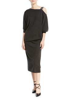 Brunello Cucinelli Cinched-Waist Cashmere/Silk Dress w/ Monili Cold Shoulder