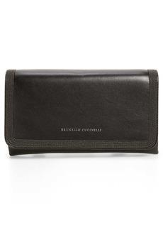 Brunello Cucinelli City Monili Halo Leather Wallet on a Strap