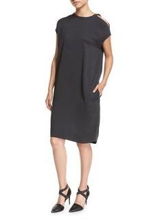 Brunello Cucinelli Cold-Shoulder Monili-Trim Silk Crepe Shift Dress