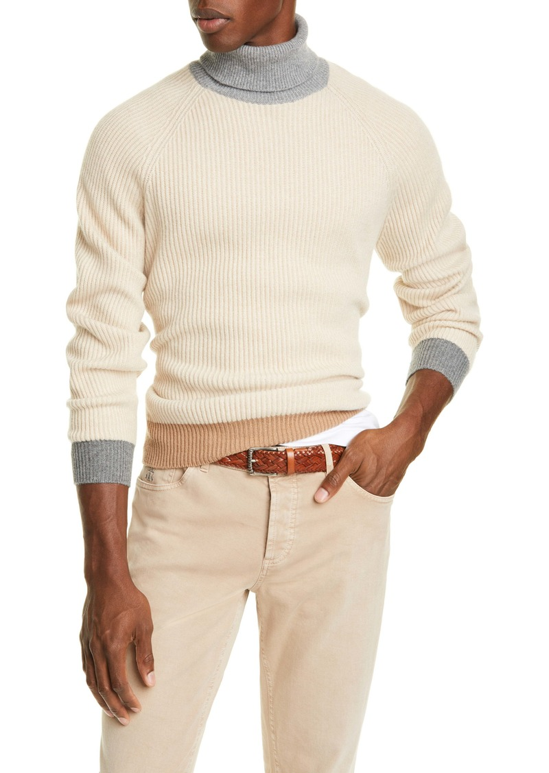 Brunello Cucinelli Colorblock Cashmere Turtleneck Sweater