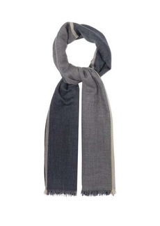 Brunello Cucinelli Colour-block cashmere-blend scarf