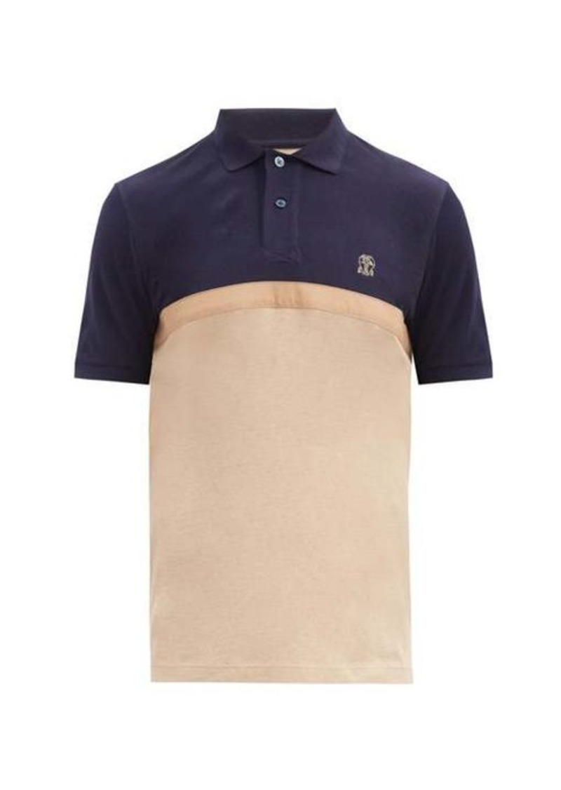 Brunello Cucinelli Colour-blocked cotton-piqué polo shirt