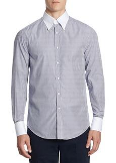 Brunello Cucinelli Contrast Collar Striped Button-Down Shirt