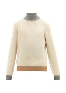 Brunello Cucinelli Contrast-edge roll-neck cashmere sweater