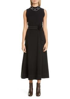 Brunello Cucinelli Contrast Stitch Belted Midi Dress