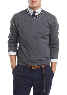 Brunello Cucinelli Contrast-Trim Crewneck Sweater