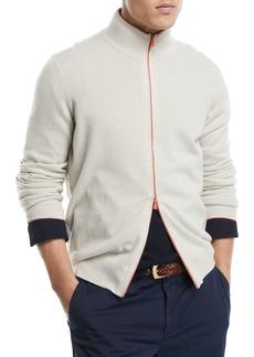 Brunello Cucinelli Contrast Zip-Front Cashmere Sweater