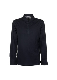 Brunello Cucinelli Cotton Piqué Long Sleeve Polo Shirt With Knit Collar