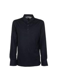 Brunello Cucinelli Cotton Piqué Long Sleeve Polo Shirt With Knit Collar