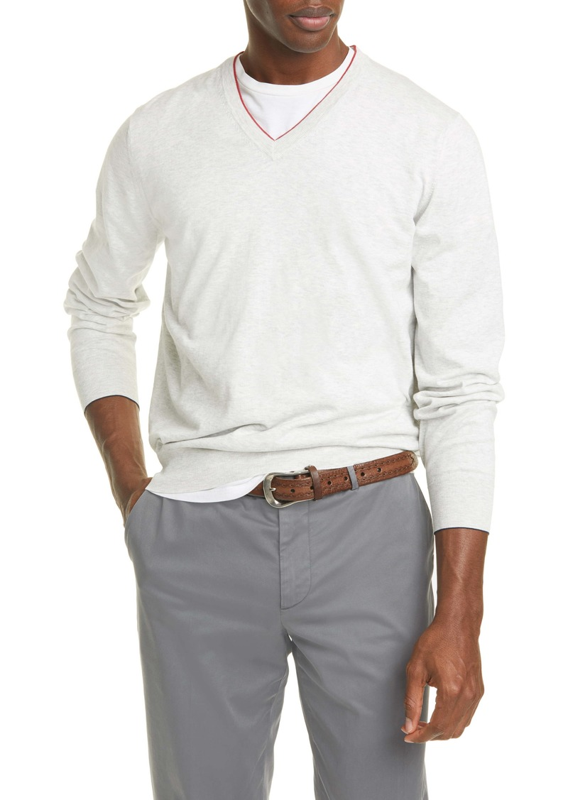Brunello Cucinelli Cotton V-Neck Sweater
