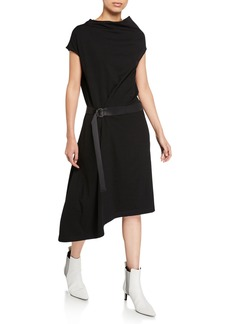Brunello Cucinelli Cowl-Neck Crepe Asymmetric Dress