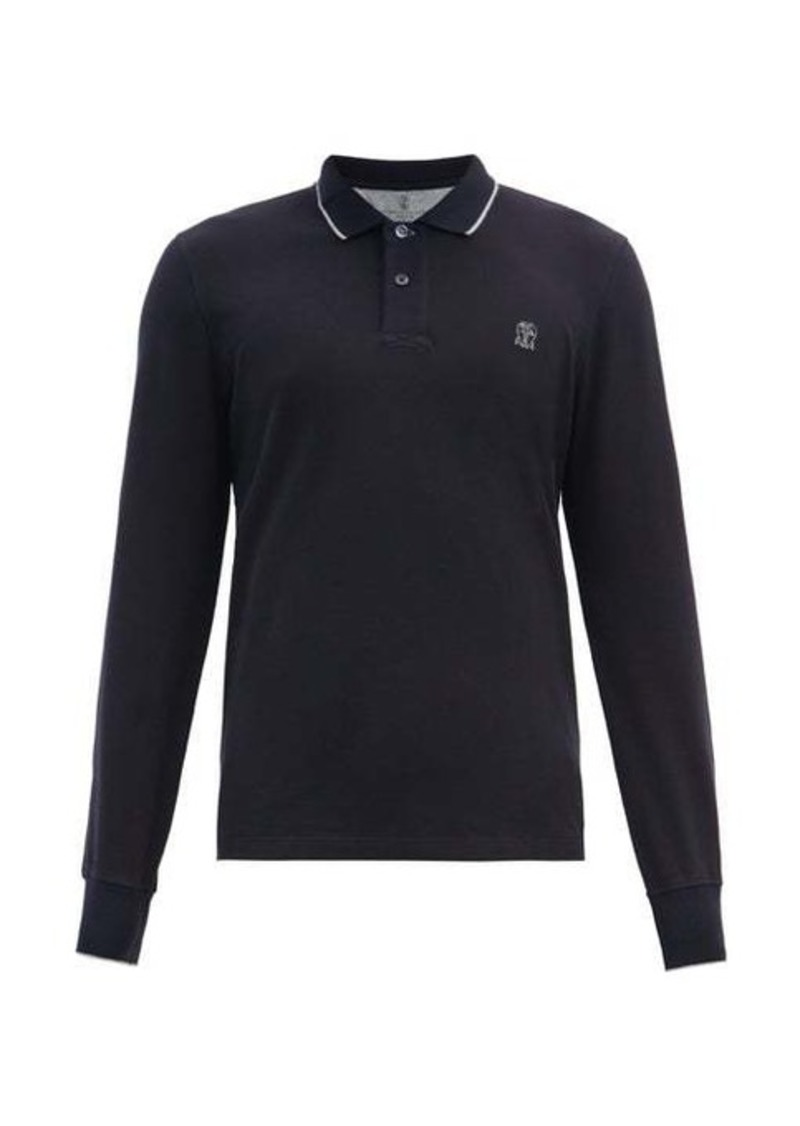 Brunello Cucinelli Crest-embroidered cotton-jersey polo shirt