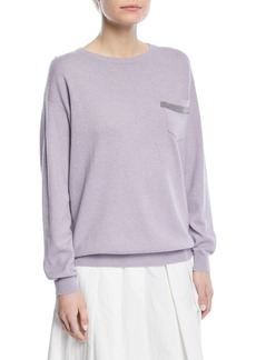 Brunello Cucinelli Crewneck 2-Ply Cashmere Pullover Sweater with Pocket Detail