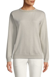 Brunello Cucinelli Crewneck Long-Sleeve Cashmere Sweater w/ Monili Trim