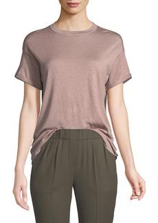 Brunello Cucinelli Crewneck Short-Sleeve Cashmere Lurex® T-Shirt