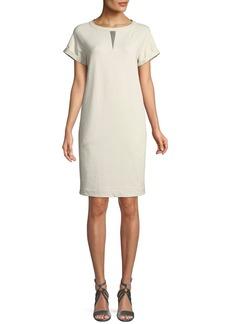 Brunello Cucinelli Crewneck Short-Sleeve Straight Felpa Dress w/ Monili Insert
