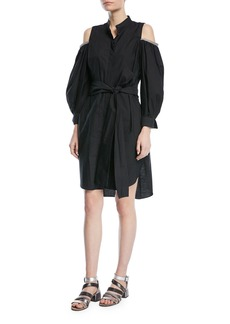 Brunello Cucinelli Crinkled Cotton Cold-Shoulder Long-Sleeve Shirtdress